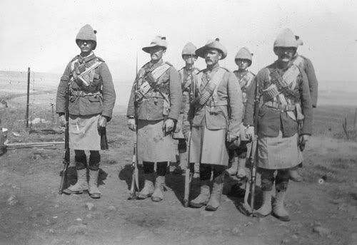 """A section of 2nd Battalion under Sergeant Johnstone equipped for action in South Africa 1900"""""""
