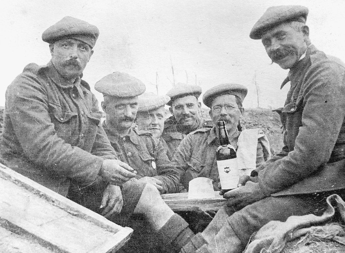 Group of Soldiers from The Black Watch Regiment. First World War Trenches.