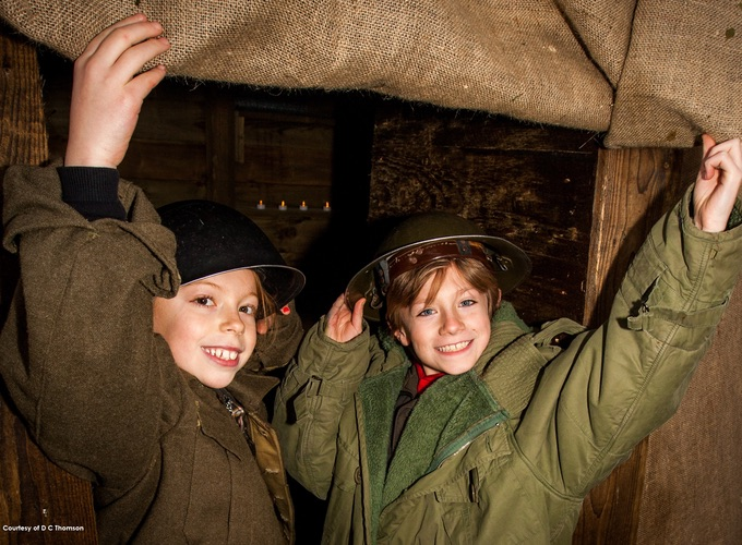 School children exploring First World War trenches exhibit at The Black Watch Castle and Museum