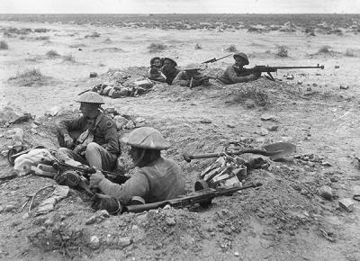 Survivors of the Black Watch 2nd Battalion's break out from Tobruk in November 1941 hold captured trenches.