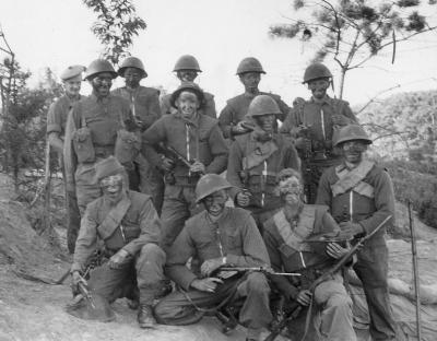 A fighting patrol from the Black Watch 1st Battalion prepares for its mission to prevent Chinese infiltration of the Battalion's defences in Korea 1952.