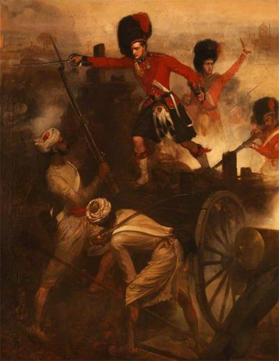 Lieutenant Farquharson winning his VC at Lucknow 1858 by Desanges