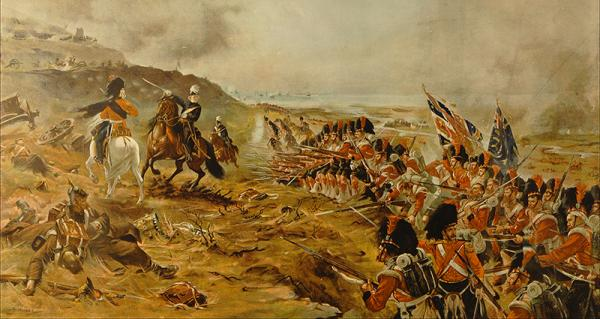 """""""Forward the 42nd"""" Portion of the print of the Battle of the Alma showing the Colour Party."""