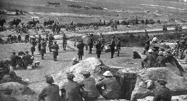 The Pipes & Drums playing after the initial capture of Longueval by the 8th Battalion. It was to change hands again frequently over the next five days.