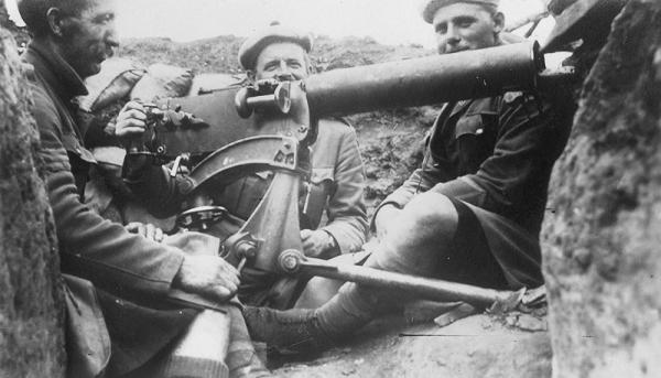 """Trench warfare soon set in. This photograph shows men of The Black Watch manning a typical trench"""""""