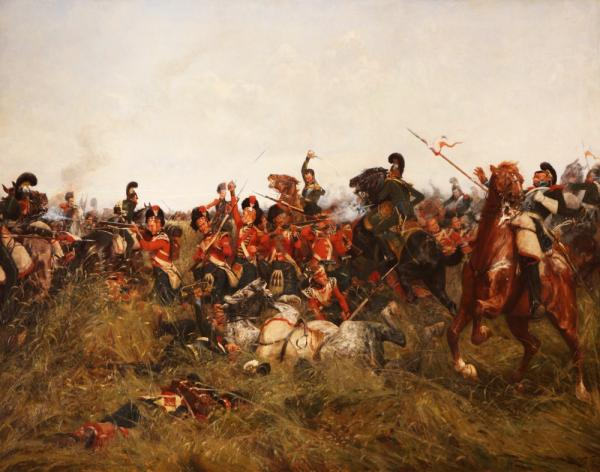 """""""The Black Watch at Bay"""" The Battle of Quatre Bras 16 June 1815. Oil painting by W R Wollen RI."""