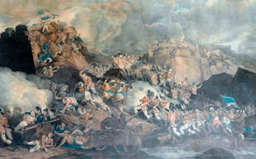Portion of an 1803 print of The Storming of Seringapatam. The original oil painting dates to 1800 and is the work of Robert Kerr Porter (1777-1842). It depicts the Union flag being planted on the fortress, an indication that the British would win the battle.