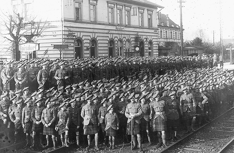 Men of the Black watch 1st Battalion at Roisdorf in Germany at the conclusion of the First World War.