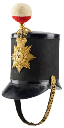 A shako hat worn by officers in the 73rd Regiment from 1844 until 1855.