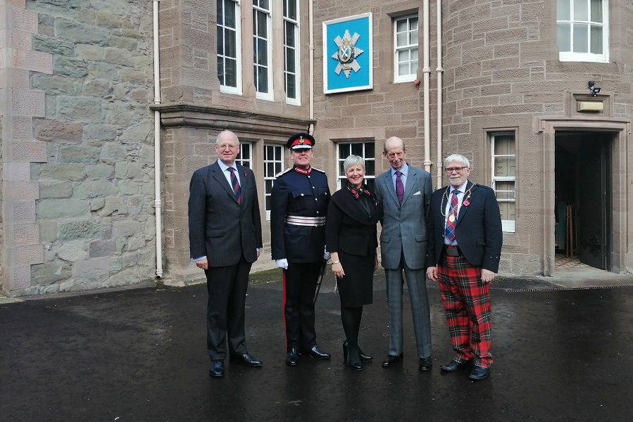 HRH Duke of Kent, Provost of Perth, Lord Lieutenant of Perth. Major General Mike Riddell-Webster and Anne Kinnes outside The Black Watch Castle and Museum