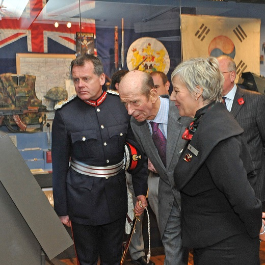 HRH Duke of Kent looking at an interactive display at The Black Watch Castle and Museum