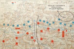 Map of The Battle of Aisne - showing opposing forces