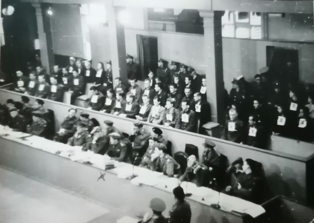 Black and white photograph of the Bergen-Belson trials
