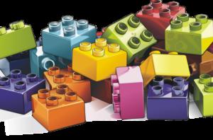 Brightly coloured toy building bricks