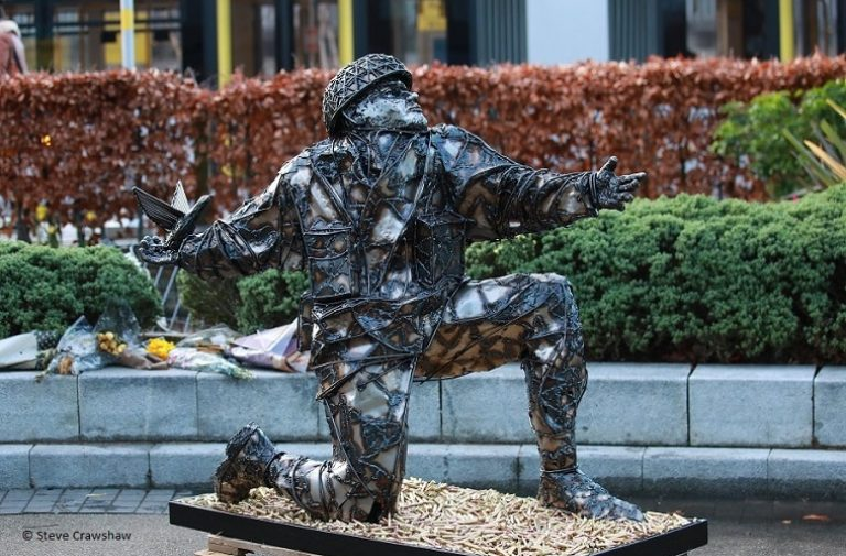 sculpture made of steel rods and steel sheets to commemorate those who lost their lives during the D-Day Landing