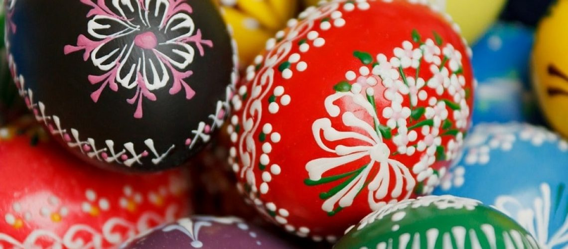 colourful hand painted eggs