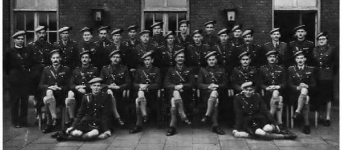 Officers from The Black Watch, The Red Hackle, January 1949. Major Prendergast can be seen on the right hand side